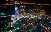 Fototrav Print - Aerial view of Dubai skyline by night