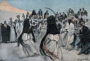 Colonial Man Photo Framed Prints - Africa 1901. The Dance Of The Sabre Framed Print by Everett