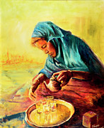 Moment Painting Originals - African Chai Tea Lady. by Sher Nasser