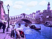 Flooding Mixed Media Posters - Afternoon At the Rialto Bridge Venice Italy Poster by Unknown -  L Brown