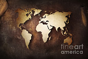 Old Map Digital Art Framed Prints - Aged World Map On A Dirty Piece Framed Print by Evgeny Kuklev