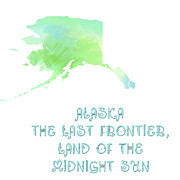 Map Of The World Mixed Media Posters - Alaska - The Last Frontier - Land of the Midnight Sun - Map - State Phrase - Geology Poster by Andee Photography