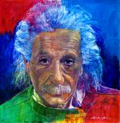 Featured Portraits Prints - Albert Einstein Print by David Lloyd Glover