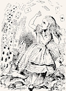 Adventures Drawings Framed Prints - Alice Attacked by Cards Framed Print by John Tenniel