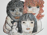 Hands Of Love Drawings - All Gods Children II by Eloise Schneider