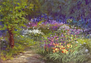 Flower Gardens Pastels Prints - Allium Row Print by Christine Bass