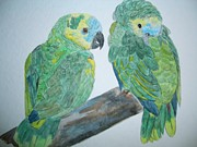 Amazon Parrot Paintings - Amazon Pair Parrot Painting by Nami ODonnell