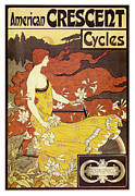 Jugendstil Framed Prints - American Crescent Cycles Framed Print by Nomad Art And  Design