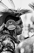 Head Dress Framed Prints - American Native BW Framed Print by Robert Frederick