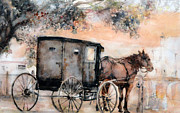 Amish Buggy Paintings - Amish Sunday by Rose Sinatra