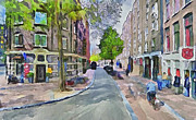 Amsterdam Digital Art Metal Prints - Amsterdam Streets 6 Metal Print by Yury Malkov