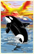 Buy Framed Prints Digital Art Framed Prints - An Orca celebrating the Morning  Framed Print by Melissa Nankervis