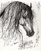 White Horses Drawings Prints - Andalusian horse drawing 2 Print by Angel  Tarantella