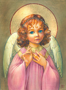 Gold Angel Prints - Angel Child Print by Zorina Baldescu