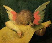 Christmas Cards Paintings - Angel Musician by Giovanni Battista Rosso Fiorentino