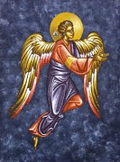 Byzantine Icon Art - Angel by Thiras art