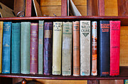 Red School House Posters - Antique Books on Shelf From 1860 Poster by Janice Rae Pariza