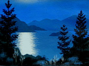 Serenity Scenes Landscapes Paintings - April  Full  Moon  by Shasta Eone