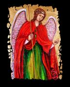 Orthodox Mixed Media Framed Prints - Archangel Gabriel fresco Framed Print by OLena Art