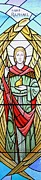 Liturgical Glass Art Posters - Archangel Raphael Poster by Gilroy Stained Glass