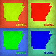 World Map Digital Art Metal Prints - Arkansas Pop Art Map 1 Metal Print by Irina  March
