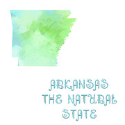 Arkansas State Map Prints - Arkansas - The Natural State - Map - State Phrase - Geology Print by Andee Photography