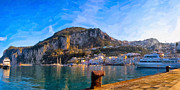Mediterranean Landscape Digital Art Framed Prints - Arriving In Marina Grande At Capri - Italian Panorama Framed Print by Mark E Tisdale
