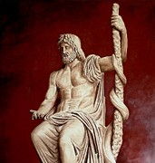 Ancient Greece Sculpture Posters - Asclepius God Of Medicine Poster by Thiras art