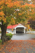Monadnock Region Posters - Ashuelot Covered Bridge Fall Foliage Poster by John Burk