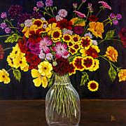 Cut Flowers Prints - Assorted Flowers in a Glass Vase by Alison Tave Print by Sheldon Kralstein