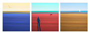 Tryptych Digital Art - At The Beach by Mal Bray