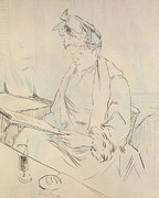 Food And Drink Drawings - At the Cafe by Henri de Toulouse-Lautrec