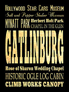 Gatlinburg Tennessee Prints - Attraction and Famous Places of Gatlinburg Tennessee Print by Joy House Studio