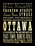 Ottawa Digital Art - Attraction and Famous Places of Ottawa Canada by Joy House Studio