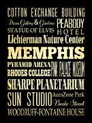Rhodes Digital Art Posters - Attractions and Famous Places of Memphis Tennessee Poster by Joy House Studio