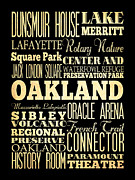 Lafayette Digital Art Prints - Attractions and Famous Places of Oakland California Print by Joy House Studio