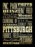 Pittsburgh Digital Art Framed Prints - Attractions and Famous Places of Pittsburgh Pennsylvania Framed Print by Joy House Studio