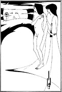 Man-in-the-moon Drawings Prints - Aubrey Beardsley Woman in the Moon Print by