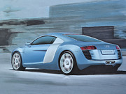 Wheels Drawings Posters - Audi R8 Lemans Concept Poster by Paul Kuras