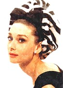 Actor Photo Prints - Audrey Hepburn in Watercolor Print by Sanely Great