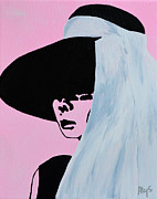 Movie Posters Paintings - Audrey Hepburn Wears A Hat by Alys Caviness-Gober