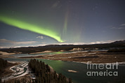 Yukon River Prints - Aurora Borealis Over Yukon River Print by Jonathan Tucker