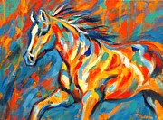Colorful Horse Paintings - Aurora by Theresa Paden