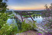 360 Bridge Prints - Austin Images - Pennybacker Bridge looking West at Sunrise Print by Rob Greebon