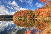 Reflections In River Prints - Autumn at Boley Lake Print by Jaki Miller
