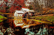 Grist Mill Digital Art - Autumn at Mabry Mill by Lianne Schneider