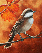 Yellow Brown Posters - Autumn Chickadee Poster by Crista Forest