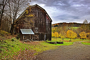 Farming Barns Digital Art Posters - Autumn Country Barn Poster by Christina Rollo