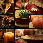 Menu Prints - Autumn dinner collage Print by Mythja  Photography
