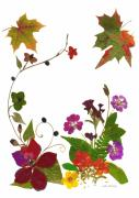 Red Geraniums Mixed Media Prints - Autumn Garden Print by Kathie McCurdy